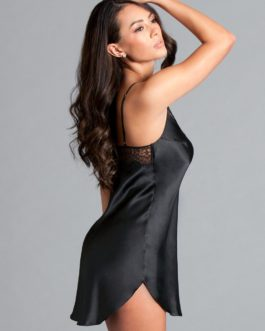 Lace-Trim Satin Slip Black