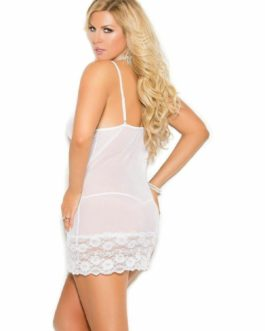 ELEGANT MOMENTS PLUS SIZE MESH BABYDOLL GARTER SET