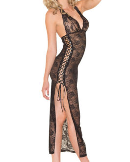 Be Wicked Two Piece Lace Open Side Halter Dress