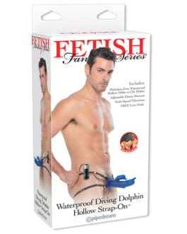 Fetish Fantasy Vibrating Diving Dolphin Hollow Strap-On Dong 7.5″ Blue