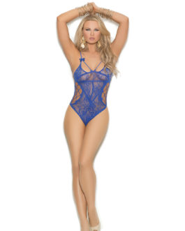 Crotchless lace teddy with cut out detailing.