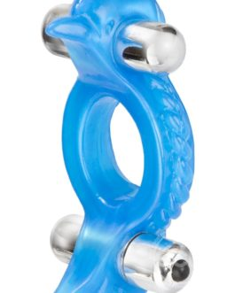 Double Dolphin Enhancer Ring With 2 Multispeed Bullets Blue